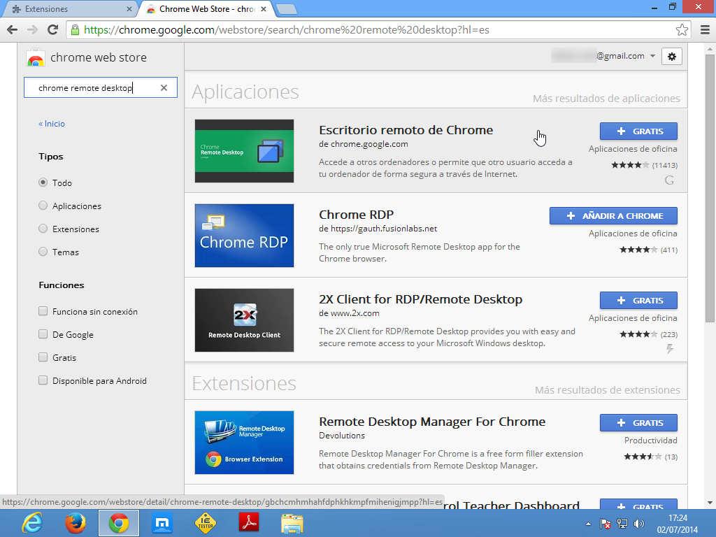 Seleccionar Chrome acceso remoto